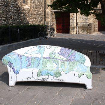 bkr1-L05 Pancratiusplein e.a. Stenen bank met mozaiek bekleed door lokale kunstenaar-2013