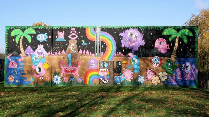 bkr4-a01a Palemigerboord - Muurschildering op schoolmuur