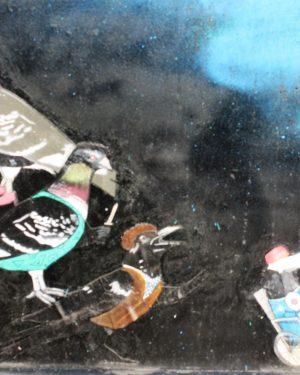 h6r2-g09c Spoorsingel- opgeplakte vogels