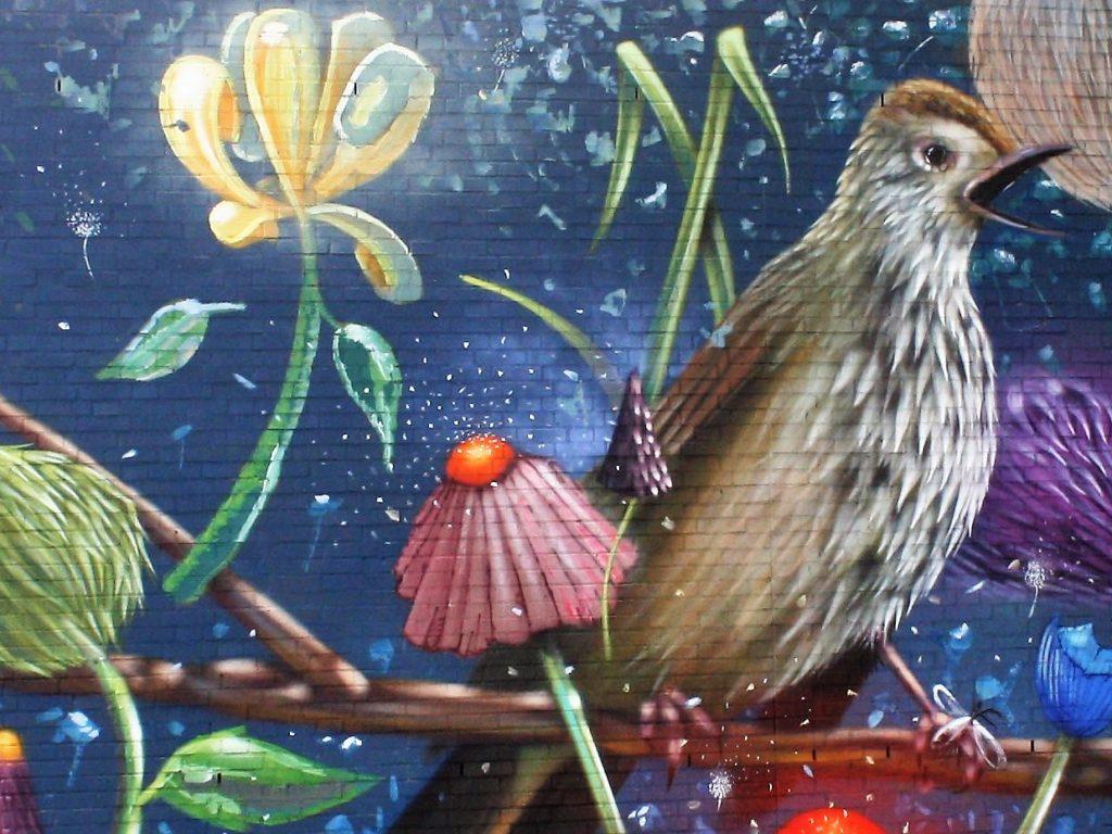 John F.Kennedylaan -muurschildering-zangvogel-Collin van der Sluys 2019
